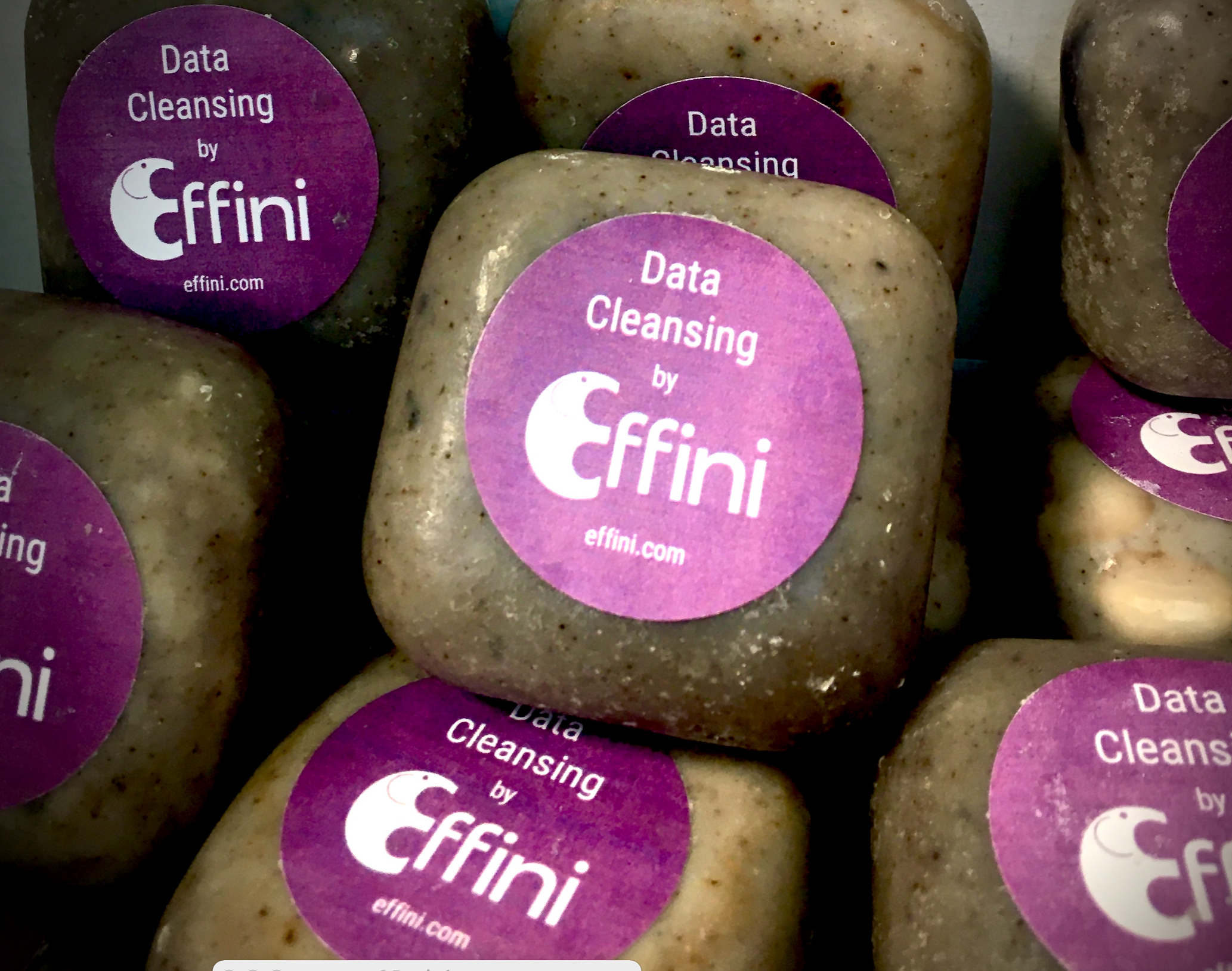 bar of soap with Effini logo and the words data cleansing